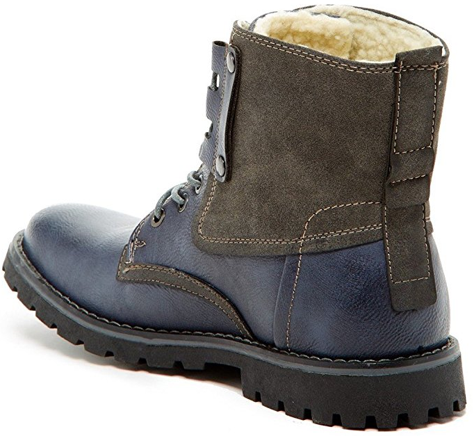 387f266055f3 ... Giraldi Kallighan Black Mens Fashion Faux Shearling Lined Boots. A  colorful display of vegan worker shoes.