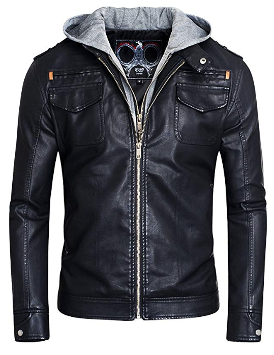Fairylinks Vegan Motorcycle Faux-Leather Jacket with a Hood