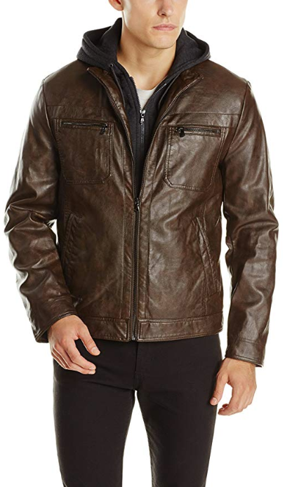 Kenneth Cole Vegan Brown Faux-Leather Jacket