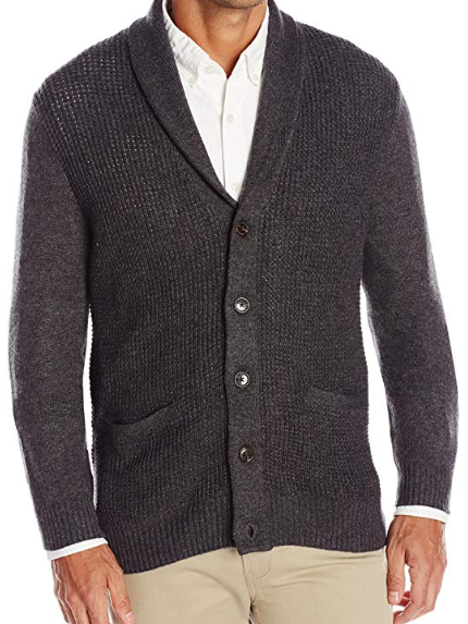 Haggar Men's Long Sleeve Shawl Collar Cardigan Vegan Sweater for Fall