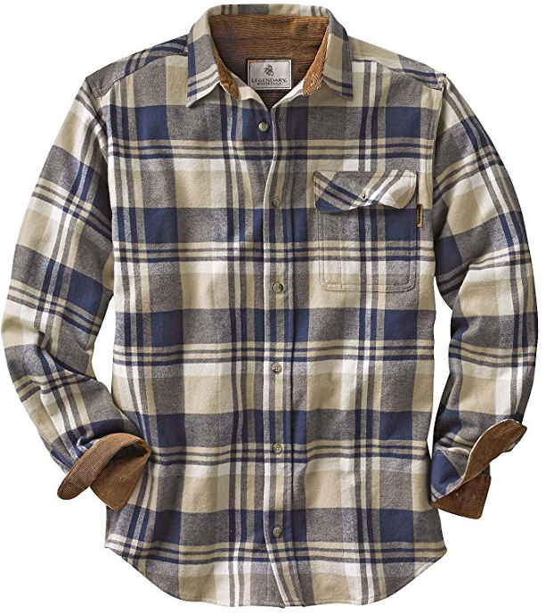 Legendary Whitetails Men's Buck Camp Vegan Shale Plaid Flannel Shirt
