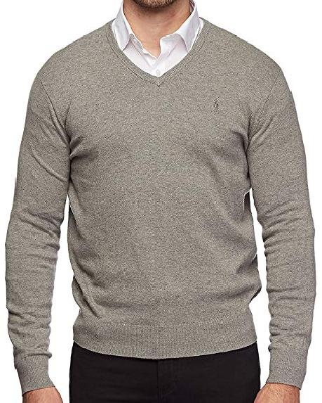 Polo Ralph Lauren Men's Pima Cotton V Neck Long Sleeve Vegan Sweater for Fall