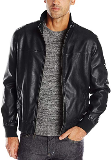 Tommy Hilfiger Vegan Men's Smooth Lamb Faux Leather Unfilled Bomber Jacket