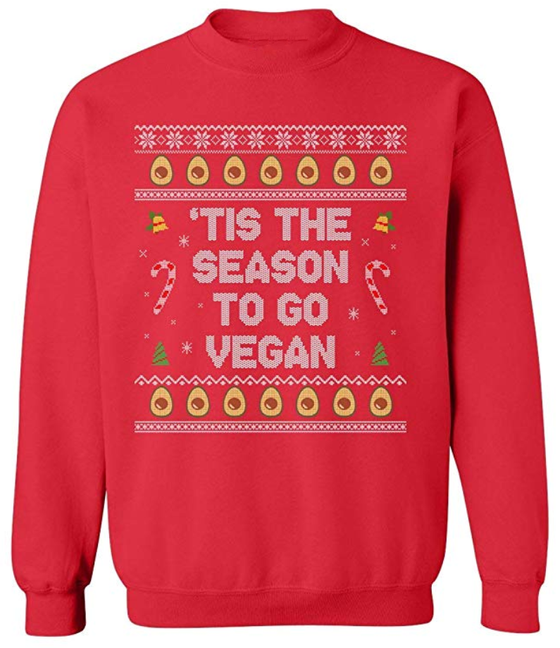 Funny Ugly Vegan Christmas Sweater - Tis the Season to go Vegan