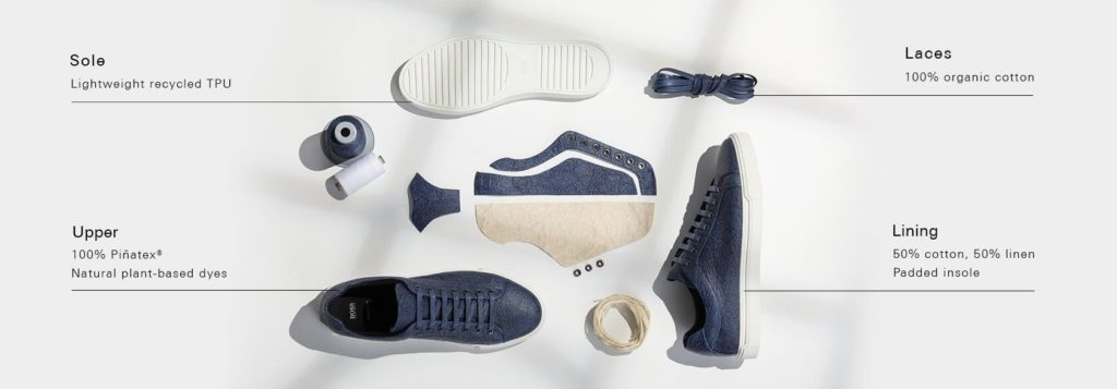 The Components of Vegan Hugo Boss Shoes Made from Pineapple Leather Called Pinatex