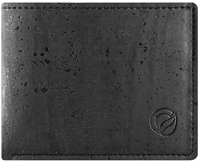 Corkor's Slim Black Cork Vegan Wallet for Men