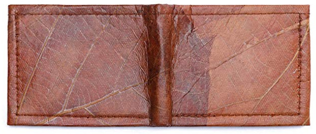 Brown Leaf Leather Vegan Wallet for Men