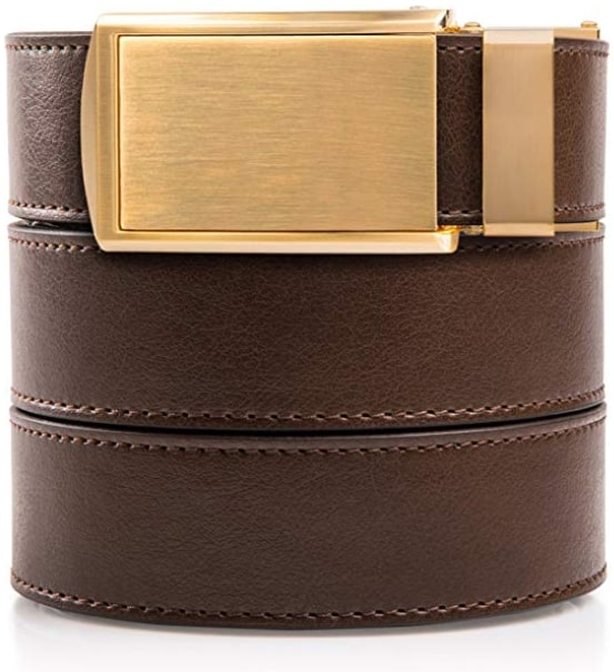 Slidebelts Brown Gold Vegan Leather Belt for Men
