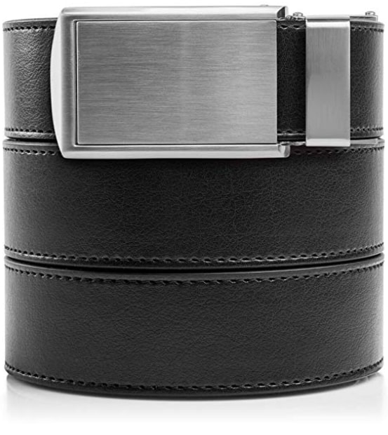 Slidebelts Black Silver Vegan Leather Belt for Men