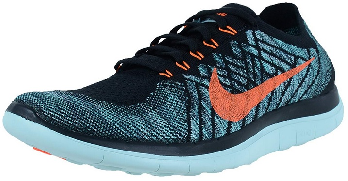 Vegan Nike Free 4.0 Flyknit Blue and Orange Sneakers